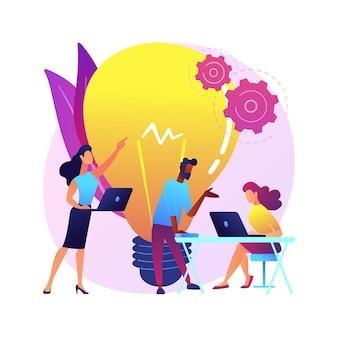 Ilustracja koncepcja streszczenie centrum uruchamiania. inkubator startupów, młody przedsiębiorca, generowanie pomysłów na biznes, centrum innowacji it, nawiązywanie kontaktów z inwestorem, partnerstwo