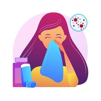 Ilustracja koncepcja streszczenie chorób alergicznych. alergia atopowa, ciężka reakcja, terapia lekami przeciwhistaminowymi, leczenie chorób alergicznych, wysypka skórna, abstrakcyjna metafora poradni dermatologicznej.