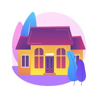 Ilustracja koncepcja streszczenie dom jednorodzinny. dom jednorodzinny, gospodarstwo domowe wolnostojące, budynek jednorodzinny, własność gruntowa indywidualna, lokal jednorodzinny.