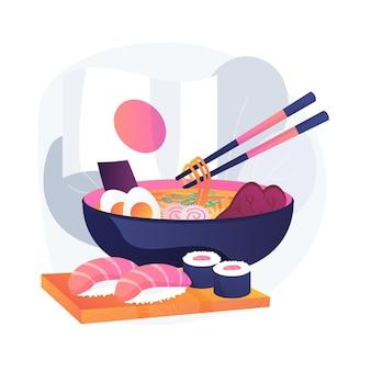 Ilustracja koncepcja streszczenie japońskiej żywności. kuchnia orientalna, japońskie sushi na wynos, targ dla smakoszy, tradycyjne menu azjatyckiej restauracji, jedzenie na wynos, jedzenie pałeczek