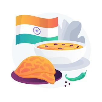Ilustracja koncepcja streszczenie kuchni indyjskiej. pikantne indyjskie jedzenie, tradycyjna kuchnia, dostawa do restauracji, orientalny smak, indyjski sklep, domowe curry, menu wegetariańskie