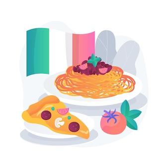Ilustracja koncepcja streszczenie kuchni talii. kuchnia śródziemnomorska, włoska re