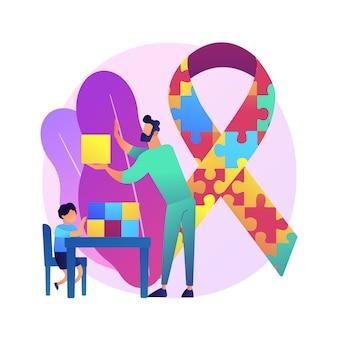 Ilustracja koncepcja streszczenie leczenia autyzmu. terapia autyzmu, stosowana analiza behawioralna, rozwój dzieci, poradnictwo zaburzeń, leczenie niepełnosprawności poznawczej.