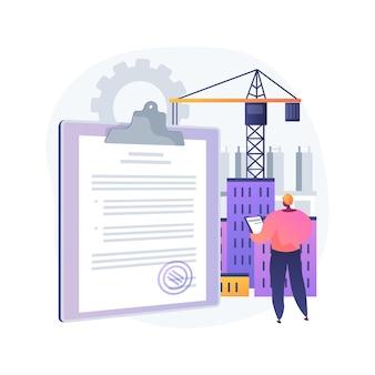 Ilustracja koncepcja streszczenie licencji branży budowlanej. rejestracja lokalnego budowniczego, kwalifikacje techniczne, jakość i reputacja, kariera budowlana, ocena