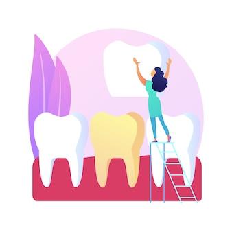 Ilustracja koncepcja streszczenie licówki dentystyczne. układanie licówek, kosmetyki stomatologiczne, estetyka zębów, usługi stomatologii estetycznej, klinika ortodontyczna, abstrakcyjna metafora uśmiechu celebrytów.