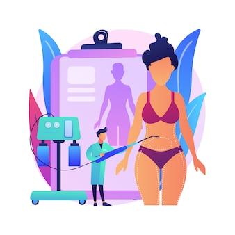 Ilustracja koncepcja streszczenie liposukcja. zabieg lipo, plastyka usuwania tłuszczu, modelowanie sylwetki, standard urody, odchudzanie, alternatywy liposukcji