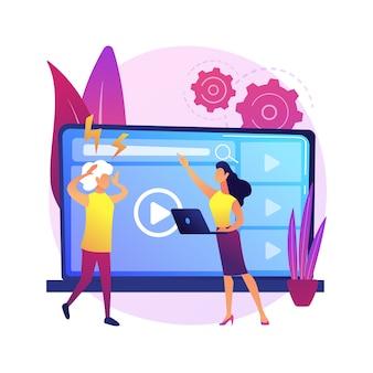 Ilustracja koncepcja streszczenie luki technologicznej. przepaść cyfrowa, luka w aplikacjach, wykorzystanie technologii, urządzenie mobilne, zrozumienie, kraj rozwijający się, opóźnienie, umiejętności cyfrowe.