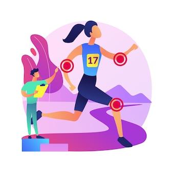 Ilustracja koncepcja streszczenie medycyna sport. usługi medycyny ortopedycznej, lekarz specjalista, rehabilitacja po kontuzjach sportowych, leczenie bólu, medycyna sportowa.