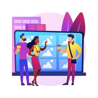 Ilustracja koncepcja streszczenie milenialsów. pokolenie y, cyfrowe media natywne i społecznościowe, komunikacja online, życie z rodzicami, budowanie kariery, ekonomia współdzielenia.