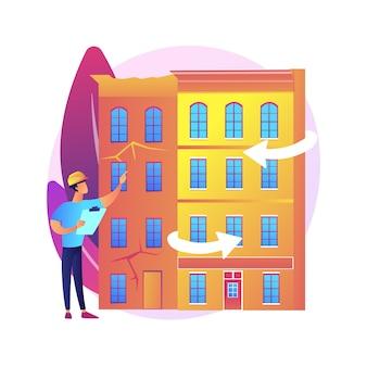 Ilustracja koncepcja streszczenie modernizacji starych budynków. usługi budowlane, rozwiązania modernizacyjne konstrukcji, docieplenie obiektów zabytkowych, zespół projektowy