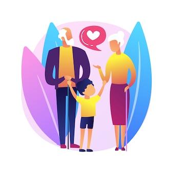 Ilustracja koncepcja streszczenie opieki. opieka nad dzieckiem, opiekun prawny, dziadkowie