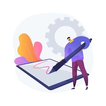 Ilustracja koncepcja streszczenie pióro cyfrowe