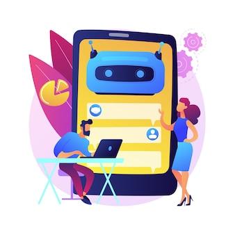 Ilustracja koncepcja streszczenie platformy rozwoju chatbota. platforma chatbotów, tworzenie wirtualnych asystentów, wieloplatformowy bot, wireframe, programowanie aplikacji mobilnych.