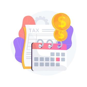 Ilustracja koncepcja streszczenie roku podatkowego