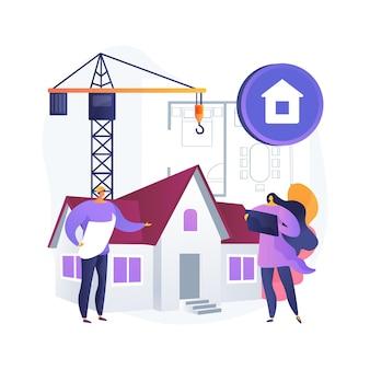 Ilustracja koncepcja streszczenie rozwoju nieruchomości. rozwój nieruchomości, sprzedaż nieruchomości, zakup gruntu, projekt budowlany, zarządzanie firmą, planowanie biznesowe