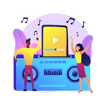 Ilustracja koncepcja streszczenie stacji dokującej. audio stacja dokująca, urządzenie elektroniczne, odtwarzanie muzyki, ładowanie baterii, podłączanie zestawu słuchawkowego, głośnik bezprzewodowy, sieć domowa.