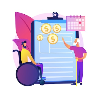 Ilustracja koncepcja streszczenie świadczenia zabezpieczenia społecznego. ubezpieczenie społeczne, formularz wniosku, kalkulator świadczeń, ubezpieczenie emerytalne, rentowe, agent