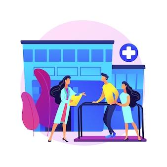Ilustracja koncepcja streszczenie szpital rehabilitacji. szpital odwykowy, ośrodek rehabilitacji, stabilizacja schorzeń, opieka psychiatryczna, placówka medyczna.