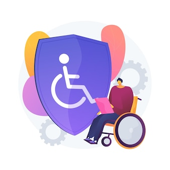 Ilustracja koncepcja streszczenie ubezpieczenia inwalidzkiego. ubezpieczenie rentowe, wózek inwalidzki w szpitalu, złamana noga, inwalida, biznesmen z ograniczonymi możliwościami