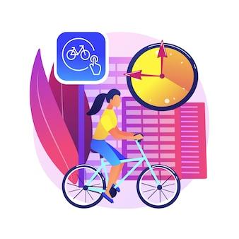 Ilustracja koncepcja streszczenie udostępniania roweru. wypożyczalnia rowerów publicznych, aplikacja do wypożyczania rowerów, zielony transport miejski, zarezerwuj przejazd online, ekologiczny transport miejski.