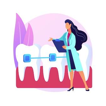 Ilustracja koncepcja streszczenie usług ortodontycznych. oddział kliniki ortodontycznej, stomatologia rodzinna, aparat dentystyczny, higiena jamy ustnej, centrum zębów, usługi stomatologiczne abstrakcyjna metafora.