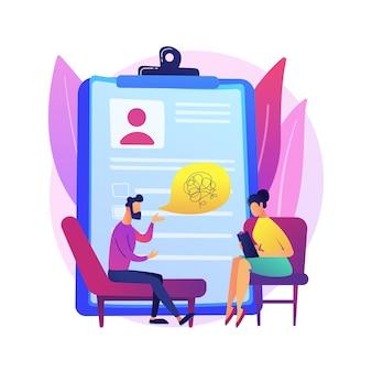 Ilustracja koncepcja streszczenie usługi psychologa. prywatna sesja psychologa, służba zdrowia psychicznego, psychologia rodzinna, terapia dzieci, psychoterapia relacji.