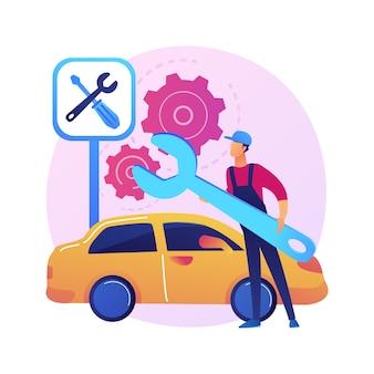 Ilustracja koncepcja streszczenie usługi samochodu. warsztat samochodowy, działalność w zakresie detalowania i konserwacji pojazdów, naprawa samochodów, diagnostyka silników, naprawa transportu.