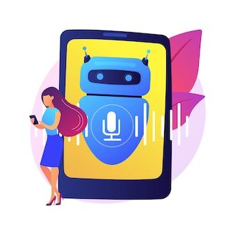 Ilustracja koncepcja streszczenie wirtualnego asystenta sterowanego głosem chatbota. mówiący wirtualny asystent osobisty, aplikacja głosowa na smartfony, sztuczna inteligencja, chatbot sterowany głosem.