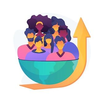 Ilustracja koncepcja streszczenie wzrostu populacji. serwis spisowy, eksplozja populacji na świecie, wzrost liczby ludzi, naturalny wskaźnik wzrostu, przeludnienie, dane demograficzne