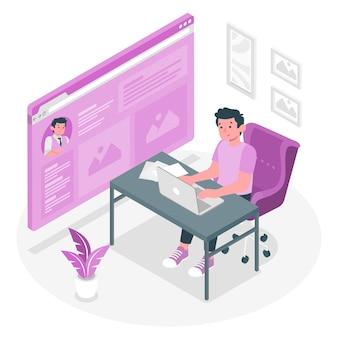 Ilustracja koncepcja strony online