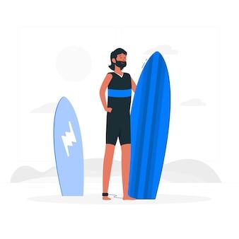 Ilustracja koncepcja surfer