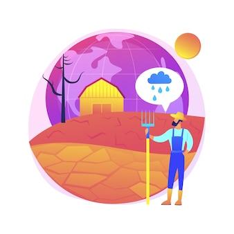Ilustracja koncepcja suszy. ekstremalne warunki pogodowe, problem erozji, brak opadów, globalne ocieplenie, walka z suszą, klęska żywiołowa, letnie upały