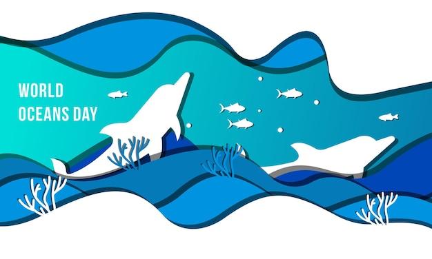 Ilustracja koncepcja światowego dnia oceanów