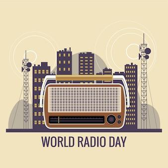 Ilustracja koncepcja światowego dnia radia. zabytkowe radio z wszelkiego rodzaju programami rozrywkowymi i wiadomościami na całym świecie