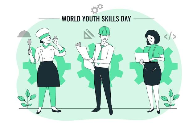 Ilustracja koncepcja światowego dnia umiejętności młodzieży