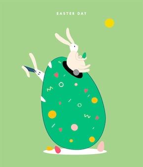 Ilustracja koncepcja szczęśliwy dzień Wielkanocy