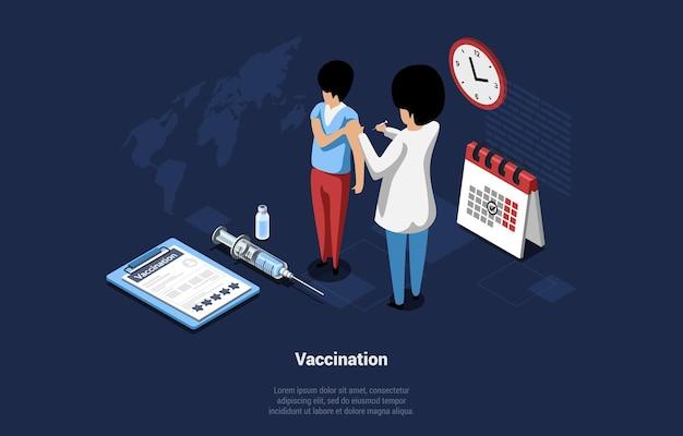 Ilustracja koncepcja szczepień w stylu cartoon 3d.