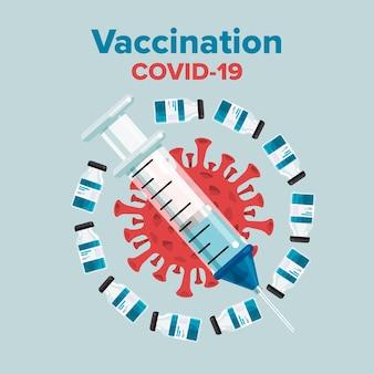 Ilustracja koncepcja szczepionka przeciwko covid-19
