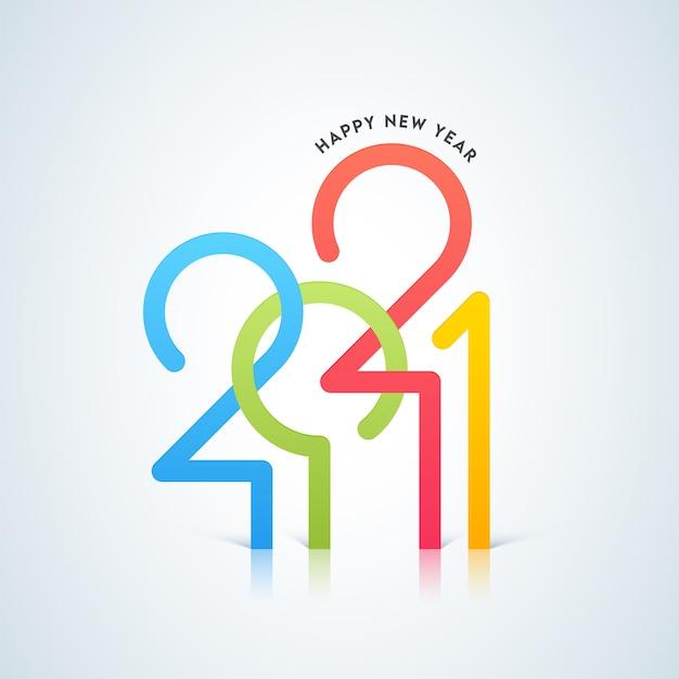 Ilustracja koncepcja szczęśliwego nowego roku 2021