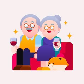 Ilustracja koncepcja szczęśliwy emerytury