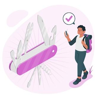 Ilustracja koncepcja szwajcarskiego noża