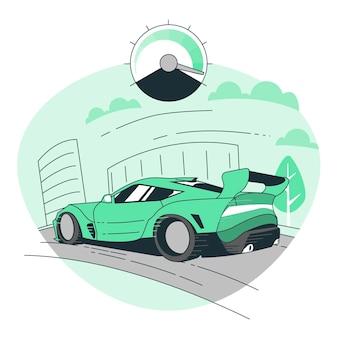 Ilustracja koncepcja szybkiego samochodu