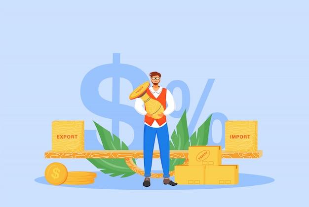 Ilustracja koncepcja taryf importowych i eksportowych. człowiek posiadający pieczęć postać z kreskówki dla stron www. międzynarodowy podatek handlowy, polityka podatkowa, pomysł na zobowiązanie prawne