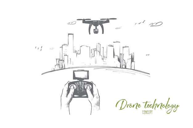 Ilustracja koncepcja technologii drona