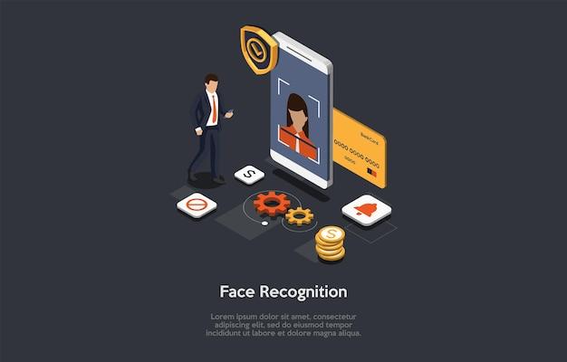 Ilustracja koncepcja technologii rozpoznawania twarzy na ciemnym tle. kompozycja 3d w stylu kreskówki. izometryczny projekt wektor. ochrona prywatności. innowacje w zakresie dostępu do smartfonów. infografiki i osoba.