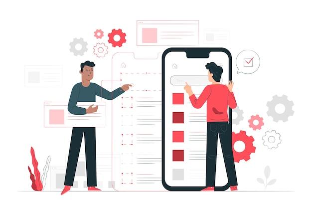 Ilustracja koncepcja testowania mobilnego