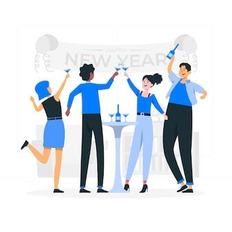 Ilustracja koncepcja toast nowego roku