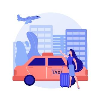 Ilustracja koncepcja transferu taksówką