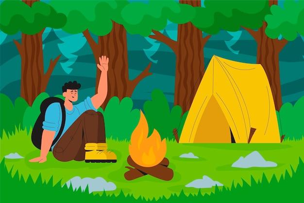 Ilustracja koncepcja turystyki ekologicznej