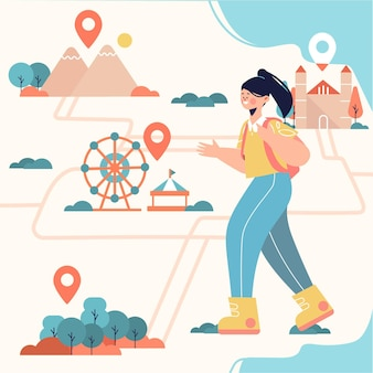 Ilustracja koncepcja turystyki lokalnej